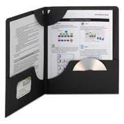 Smead Lockit Two-Pocket Folder, Textured Heavyweight Paper, 11 x 8 1/2, Black, 25/Box