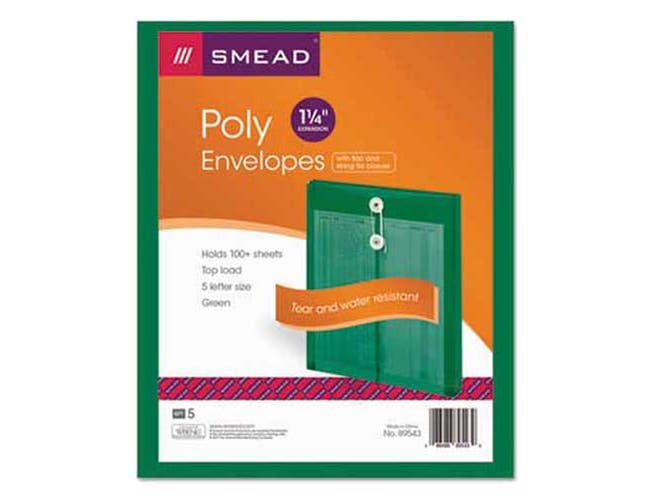 Smead Poly String & Button Envelope, 9 3/4 x 11 5/8 x 1 1/4, Green, 5/Pack
