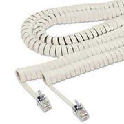Softalk Coiled Phone Cord, Plug/Plug, 25 ft., Ash