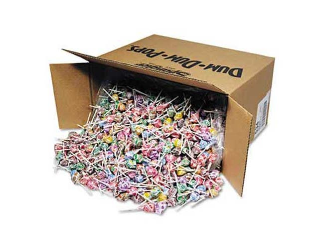Spangler Dum-Dum-Pops, Assorted Flavors, Individually Wrapped, Bulk 30lb Carton