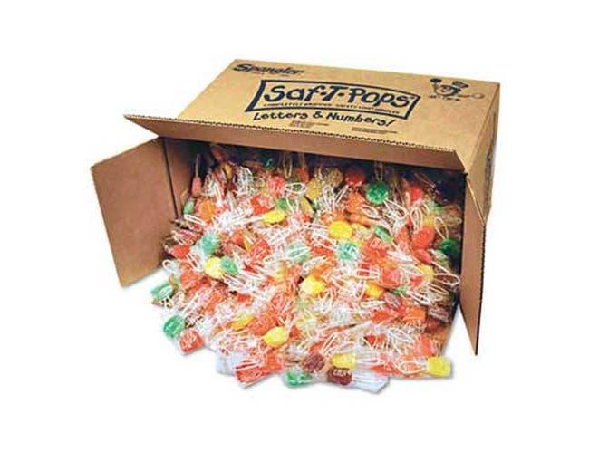 Saf-T-Pops Saf-T-Pops, Assorted Flavors, Individually Wrapped, Bulk 25lb Box, 1000/Carton