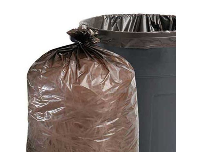 Stout 100% Recycled Plastic Garbage Bags, 60gal, 1.5mil, 36 x 58, Brown/Black, 100/CT