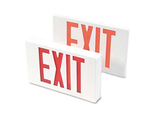 Tatco LED Exit Sign, Polycarbonate, 12 1/4 inch x 2 1/2 inch x 8 3/4 inch, White