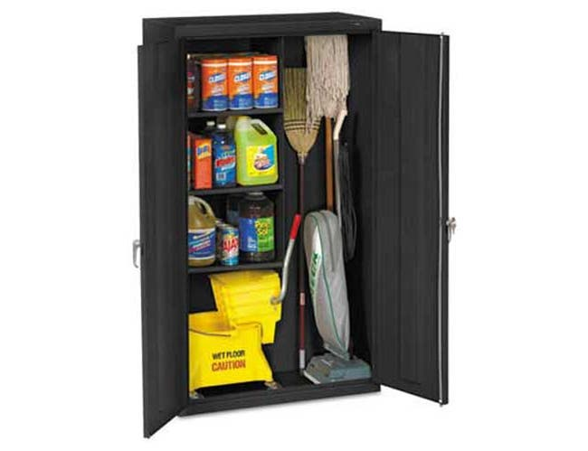 Tennsco Janitorial Cabinet, 36w x 18d x 64h, Black