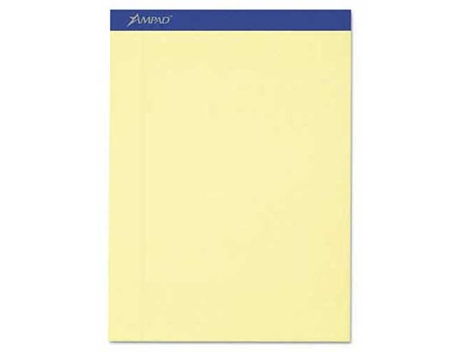 Ampad Recycled Writing Pads, 8 1/2 x 11 3/4, Canary, 50 Sheets, Perfed, Dozen