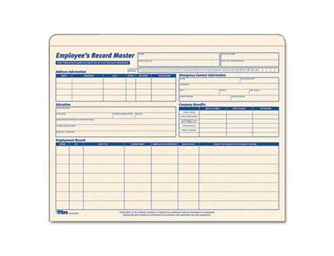 TOPS Employee Record Master File Jacket, 9 1/2 x 11 3/4, 10 Point Manila, 15/Pack