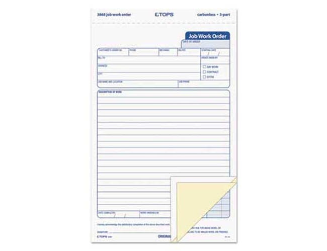 TOPS Snap-Off Job Work Order Form, 5 1/2 x 8 1/2, Three-Part Carbonless, 50 Forms