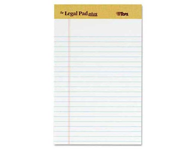 TOPS The Legal Pad Ruled Perforated Pads, Narrow, 5 x 8, White, 50 Sheets, DZ