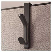 Universal One Recycled Cubicle Double Coat Hook, Plastic, Charcoal