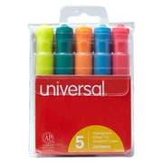 Universal Desk Highlighter, Chisel Tip, Fluorescent Colors, 5/Set