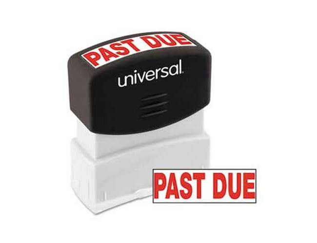 Universal Message Stamp, PAST DUE, Pre-Inked/Re-Inkable, Red