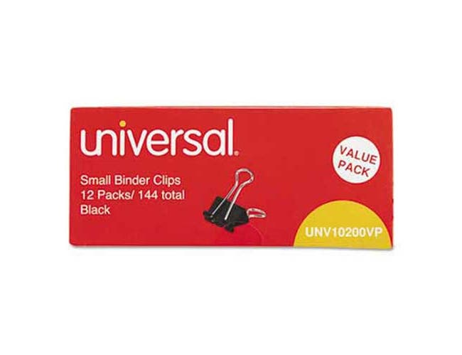 Universal Small Binder Clips, Steel Wire, 3/8 inch Capacity, 3/4 inch Wide, Black/Silver, 144/Pack