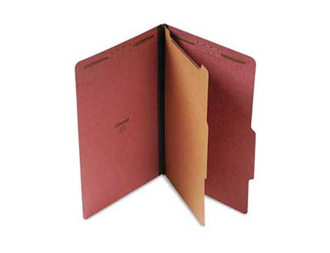 Universal Pressboard Classification Folder, Legal, Four-Section, Red, 10/Box