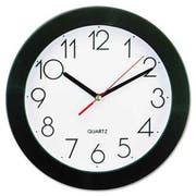 Universal Round Wall Clock, 9-3/4 inch, Black