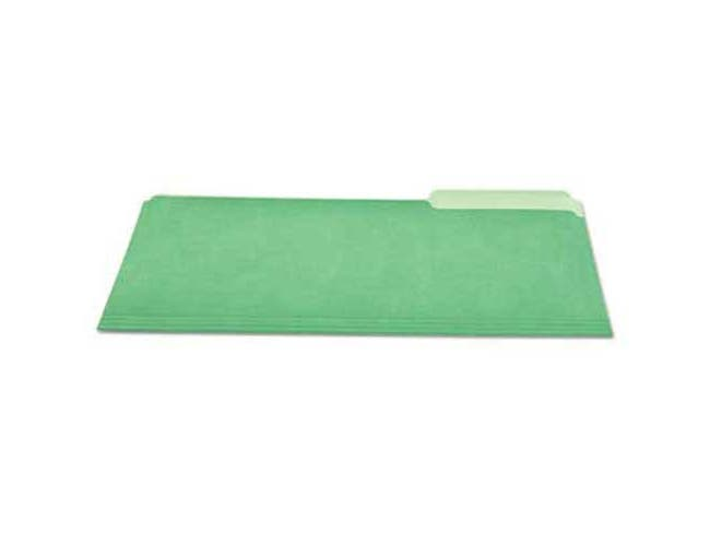 Universal One File Folders, 1/3 Cut One-Ply Tab, Letter, Green/Light Green, 100/Box