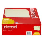 Universal File Folders, 1/3 Cut Assorted, Two-Ply Top Tab, Letter, Manila, 100/Box