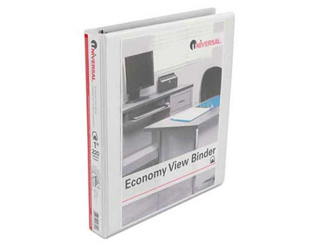 Universal One Economy D-Ring View Binder, 1 inch Capacity, White, 4 per Pack