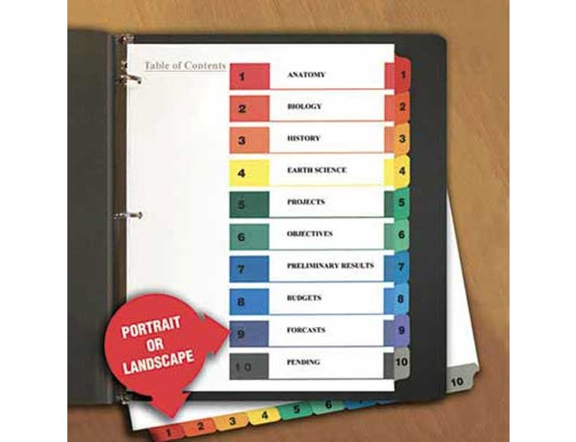 Universal One Table of Contents Dividers, Assorted Color 10-Tab, 1-10, Letter, White, 6/PK
