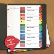 Universal One Table of Contents Dividers, Assorted Color 12-Tab, 1-12, Letter, White, 6/PK