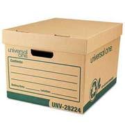 Universal One Recycled Record Storage Box, Letter, 12 x 15 x 10, Kraft, 12/Carton