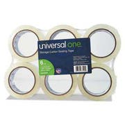 Universal One Heavy-Duty Acrylic Box Sealing Tape, 48mm x 50m, 3 inch Core, Clear, 6/Pack