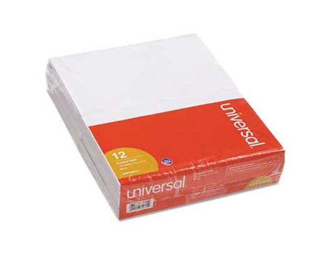 Universal Scratch Pads, Unruled, 5 x 8, White, 12 100-Sheet Pads/Pack