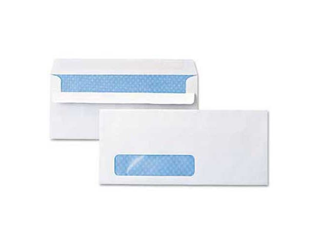 Universal One Self-Seal Business Envelope, Window, Security Tint, #10, White, 500/Box