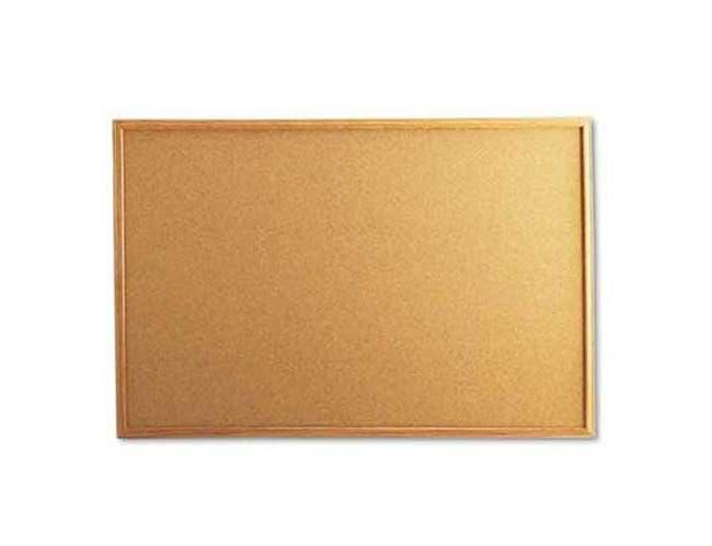 Universal Cork Board with Oak Style Frame, 36 x 24, Natural, Oak-Finished Frame