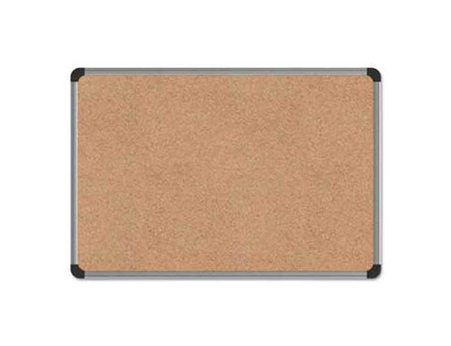 Universal One Cork Board with Aluminum Frame, 24 x 18, Natural, Silver Frame