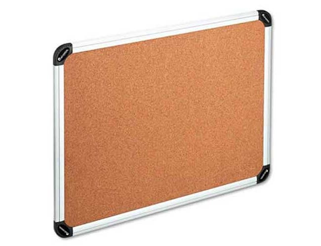 Universal One Cork Board with Aluminum Frame, 48 x 36, Natural, Silver Frame