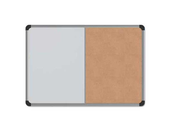 Universal Cork/Dry Erase Board, Melamine, 24 x 18, Black/Gray Aluminum/Plastic Frame