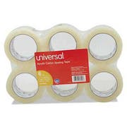Universal One General-Purpose Acrylic Box Sealing Tape, 48mm x 100m, 3 inch Core, Clear, 6/Pack