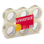 Universal General-Purpose Box Sealing Tape, 48mm x 100m, 3 inch Core, Clear, 6/Pack