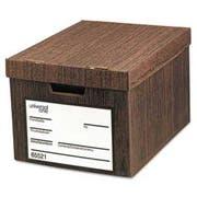 Universal One Heavy-Duty Storage Box, Letter/Legal, Fiberboard, Woodgrain, 12/Carton