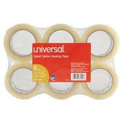 Universal Quiet Tape Box Sealing Tape, 48mm x 100m, 3 inch Core, Clear, 6/Pack