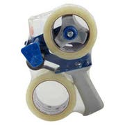 Universal One Heavy-Duty Box Sealing Tape w/Dispenser, 48mm x 54.8m, 3 inch Core, Clear, 2/Pack
