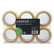 Universal One Heavy-Duty Box Sealing Tape, 48mm x 50m, 3 inch Core, Clear, 6/Pack