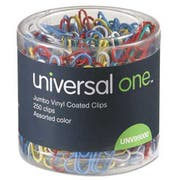 Universal One Vinyl-Coated Wire Paper Clips, Jumbo, Assorted Colors, 250/Pack