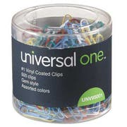 Universal One Vinyl-Coated Wire Paper Clips, No. 1, Assorted Colors, 500/Pack