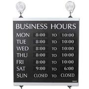 Headline Sign Century Series Business Hours Sign, Heavy-Duty Plastic, 13 x 14, Black