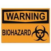 Headline Sign OSHA Safety Signs, WARNING BIOHAZARD, Orange/Black, 10 x 14