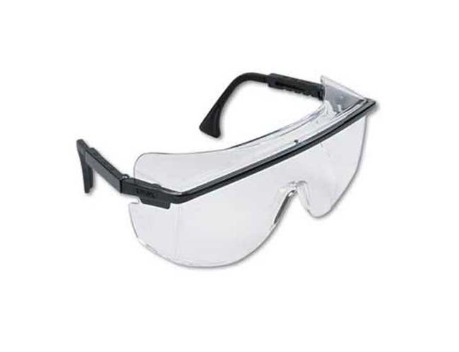 Uvex by Honeywell Astro OTG 3001 Wraparound Safety Glasses, Black Plastic Frame, Clear Lens