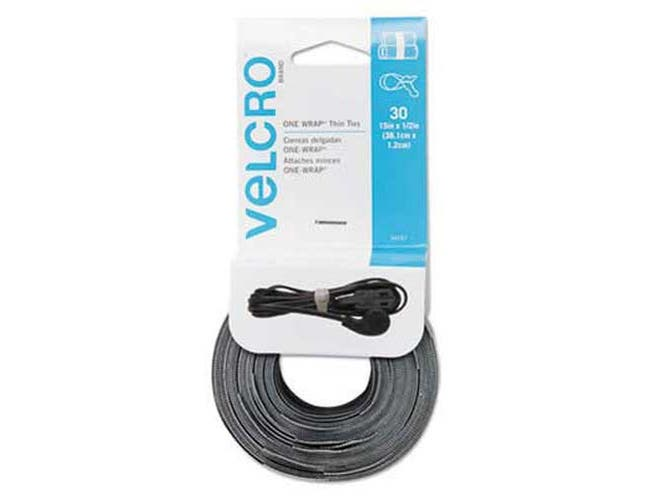 Velcro Reusable Self-Gripping Cable Ties, 1/2 x 15 inches, Black/Gray, 30 Ties Each