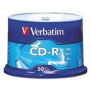 Verbatim CD-R Discs, 700MB/80min, 52x, Spindle, Silver, 50/Pack