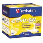Verbatim DVD+RW Discs, 4.7GB, 4x, w/Slim Jewel Cases, Pearl, 10/Pack