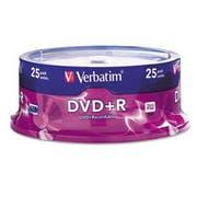 Verbatim DVD+R Discs, 4.7GB, 16x, Spindle, Silver, 25/Pack