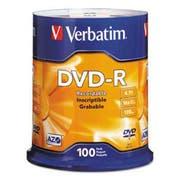 Verbatim DVD-R Discs, 4.7GB, 16x, Spindle, Silver, 100/Pack