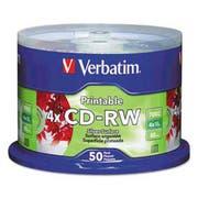 Verbatim CD-RW Discs, Printable, 700MB/80min, 4x, Spindle, Silver, 50/Pack