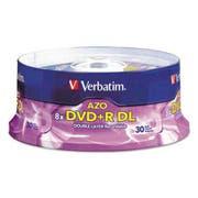 Verbatim Dual-Layer DVD+R Discs, 8.5GB, 8x, Spindle, 30/PK, Silver