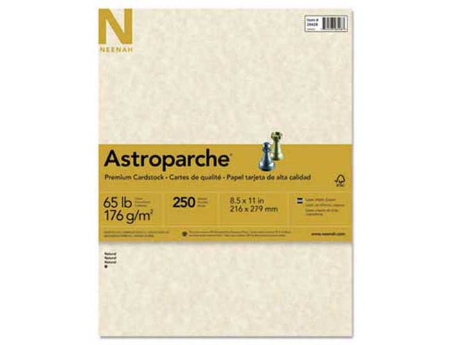 Neenah Paper Astroparche Specialty Card Stock, 65 lbs., 8-1/2 x 11, Natural, 250 Sheets/Pack